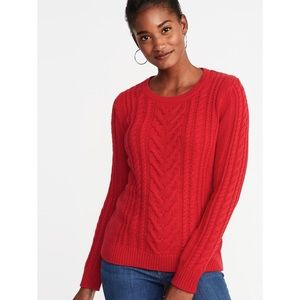 Old Navy Chunky Red Long Sleeve Cable Knit Sweater